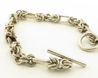 """Vintage Sterling Silver 8"""" Bracelet w/ Toggle"""