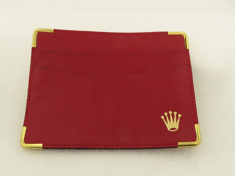 Vintage ROLEX Red Leather Card Case & Reed Barton Silver Leather Case