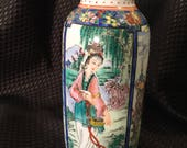Rare Asian Eggshell Exquisitely Painted Qing Dynasty Four Panel Very Small 6 quot Vase