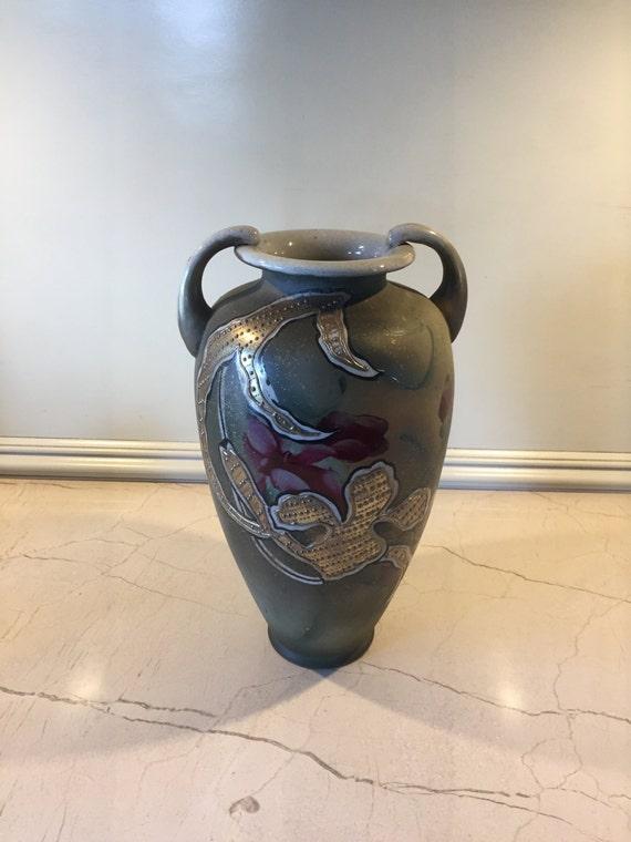 Japanese Moriage Vase Beaded Jeweled Art Nouveau Movement Etsy
