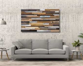 Reclaimed Wood Wall Art, Acoustic Panel, Rustic Wall Art, Abstract Wood Art, Large Wall Sculpture, Real Wood Art