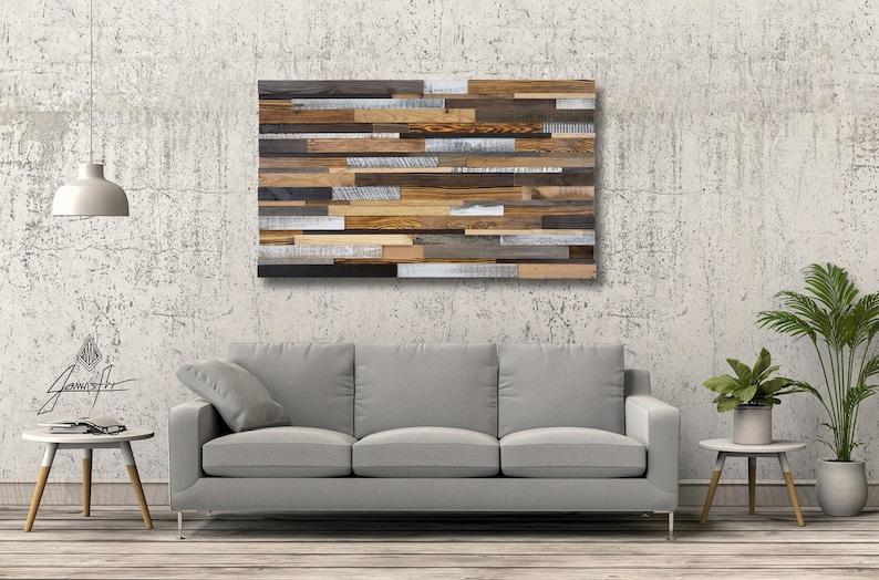 Reclaimed Wood Wall Art Acoustic Panel Rustic Wall Art image 0