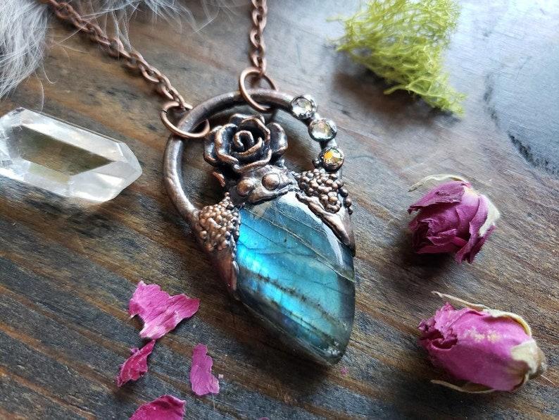 Ramona Moonstone Rose Quartz Crystal Copper Necklace Pendant Electroformed Handmade