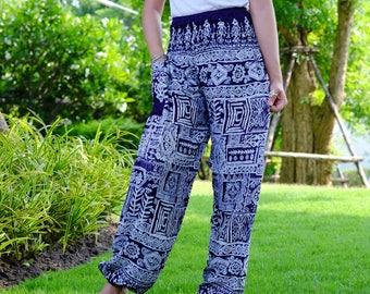 Hippie pants harem pants ancient thai pants cozy pants Dark Blue