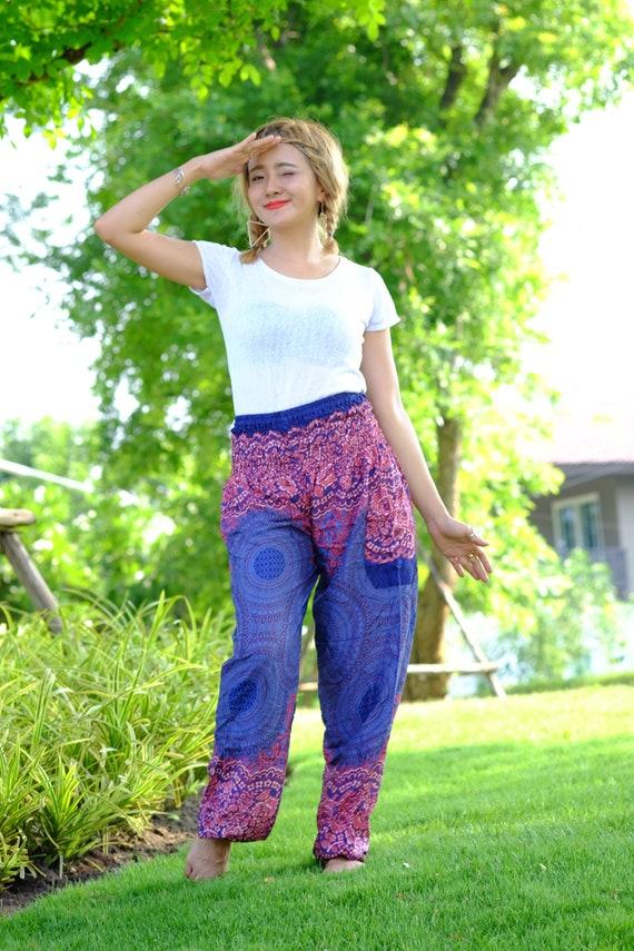 Sac besace pantalon hippie pantalon SAROUEL PANTALON fleur bleu-rose