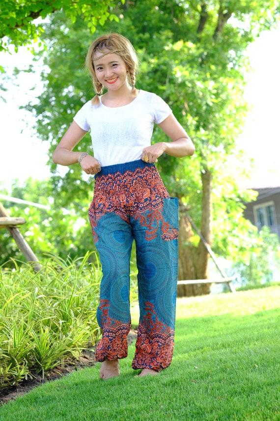 Sac besace pantalon hippie pantalon Sarouel fleur vert-orange
