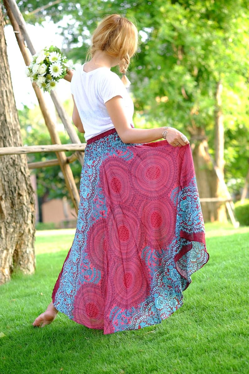 Long skirt Rose Skirt hippie Skirt Rose skirt Red