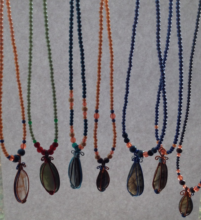 optional Add an Extender Blue Necklace 15 with Orange Accents Beaded Flash Labradorite Pendant on a Blue Faux Pearl Beaded Necklace