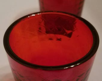 2 Ruby Red Votive / Tea Light Candle Holder