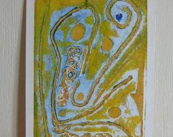 Blue + Yellow (Collograph print)