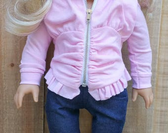 American Girl or 18 Inch Doll Pink Knit Hoodie and Denim Jeans