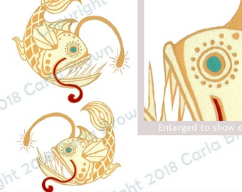 Angler Fish Clip Art vintage art nouveau anglerfish clipart hand painted deco illustration download JPG PNG