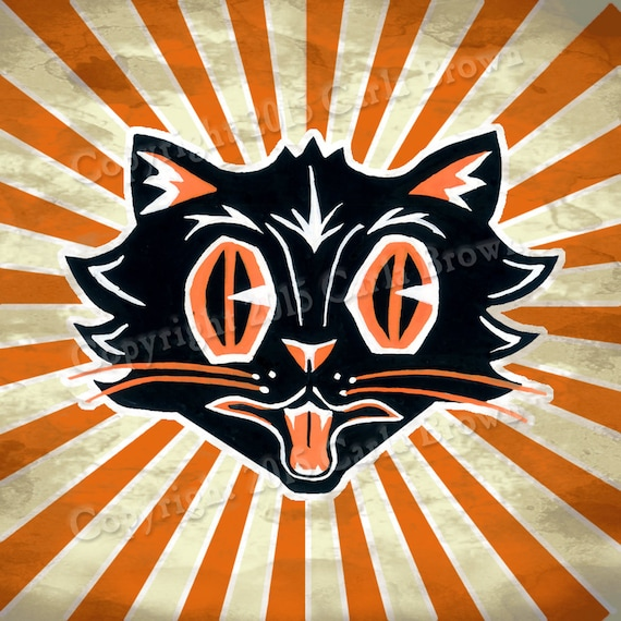 Retro Halloween Cat Clipart Vintage Style Download clip art Black cat  spooky face