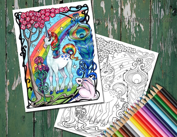 Unicorn And Rainbow Coloring Book Page In Art Nouveau Style Print Your Own Instant Download Colored Pencil Page