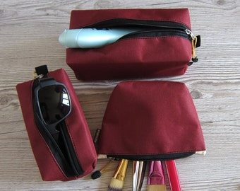 Makeup bag set - Set of three cosmetic bag - Toiletry bag - zip pouch set - Burgundy - Marsala - zipped pouch set - large middle and small