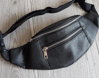 6443adae0f17d0 Vegan leather fanny pack, Hip bag, Bum bag, Festival bag, Waist bag, Belt  bag, Black faux leather pouch, travel purse