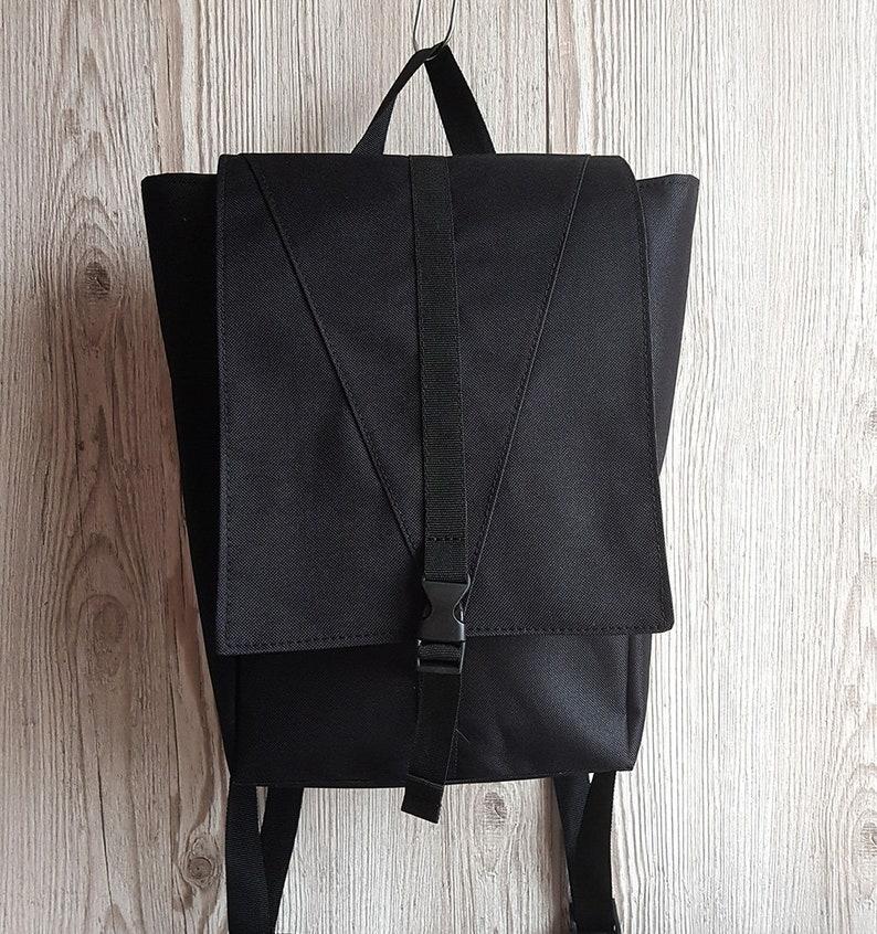 6c05c4fb6b93 Mini Backpack Small Black Fabric Backpack Minimalist