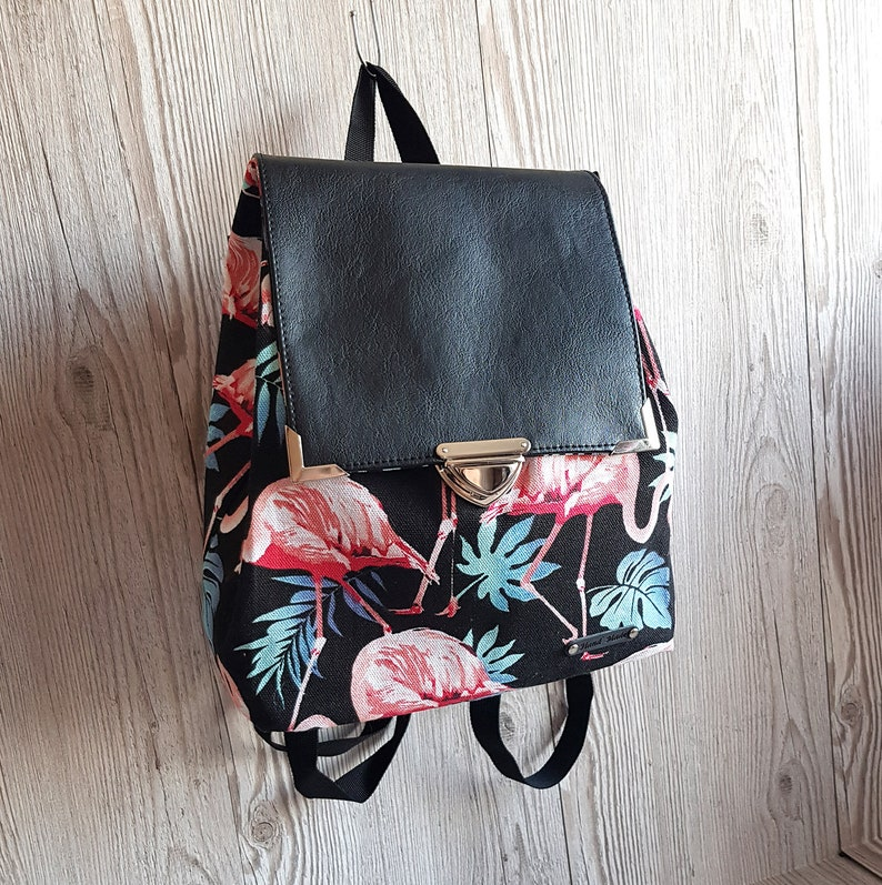 Vegan Faux Leather and Cotton Backpack Purse with waterproof lining Women/'s Backpack Flamingo Tropical Small Backpack