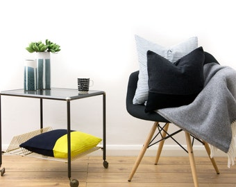 Cashmere Navy & Yellow Cushion Cover by LINT Homeware | Minimalist Colorblock Throw Pillow | Geometric Cushion Cover | Scandinavian Pillow