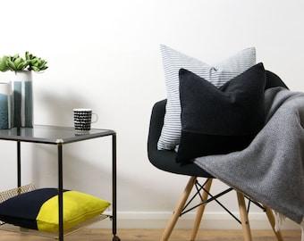 Black & Grey Wool Colorblock Cushion Cover by LINT Homeware | Scandinavian Pillow | Gray Minimalist Throw Pillow | Grey Cushion Cover UK