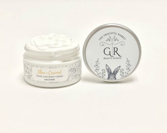 SHEA + COCONUT | hand and body creme'  | made with goat milk | Paraben - Phthalate and Cruelty Free  | The Graceful Rabbit