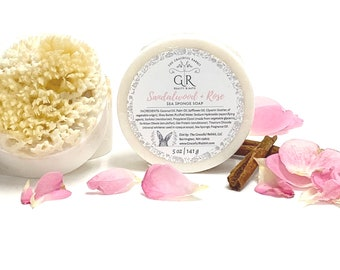 SANDALWOOD + ROSE | sea sponge soap | Shea Butter | Natural Wool Sea Sponge  | The Graceful Rabbit