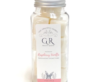 RASPBERRY + VANILLA | exfoliating body sugar cubes | phthalates - detergent and paraben Free | The Graceful Rabbit