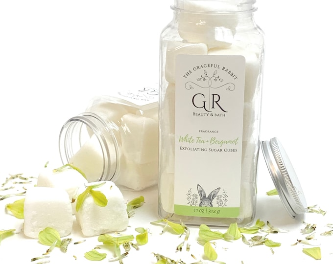 WHITE TEA + BERGAMOT | exfoliating body sugar cubes |phthalates - detergent and paraben Free | The Graceful Rabbit