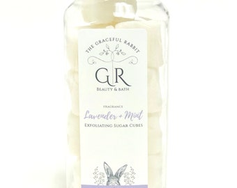 LAVENDER MINT | exfoliating body sugar cubes | phthalates - detergent and paraben Free | The Graceful Rabbit
