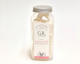 RASPBERRY + VANILLA | exfoliating body sugar cubes | phthalates - detergent and paraben Free | The Graceful Rabbit