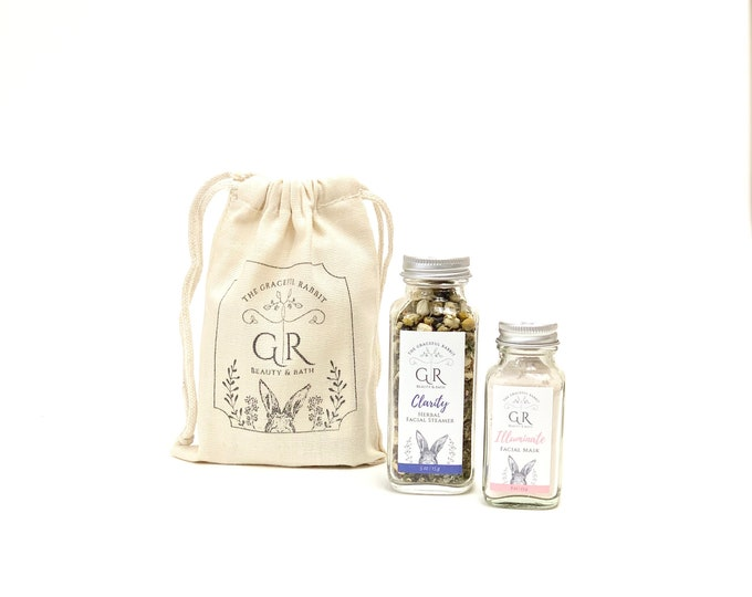 Clarity Herbal Facial Steamer and Illuminate Clay Facial Mask Set| The Graceful Rabbit