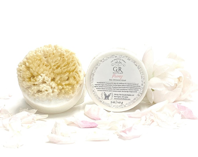 PEONY Sea Sponge Soap| Shea Butter | Paraben  Free | Phthalate Free | The Graceful Rabbit