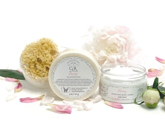GIFT SET PEONY Sea Sponge Soap and Peony hand and body creme