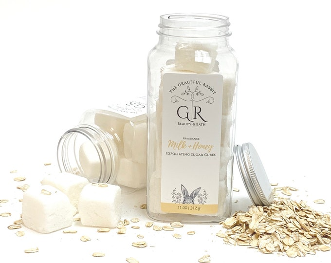 MILK + HONEY | exfoliating body sugar cubes |phthalates - detergent and paraben Free | The Graceful Rabbit