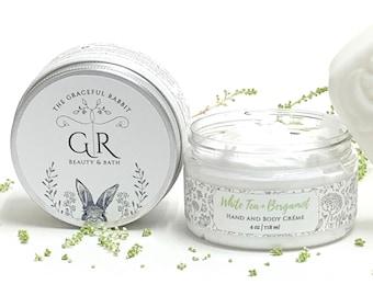 WHITE TEA + BERGAMOT | Goat Milk Hand + Body Lotion | Phthalate and Paraben Free | The Graceful Rabbit