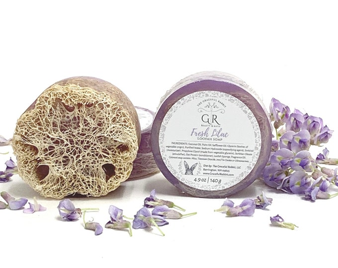 LILAC | natural loofah sponge soap | phthalates - detergent and paraben Free | The Graceful Rabbit