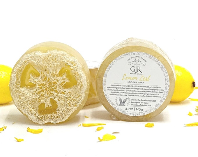 LEMON ZEST | natural loofah sponge soap | phthalates - detergent and paraben Free | The Graceful Rabbit