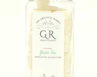 GREEN TEA | exfoliating body sugar cubes  phthalates - detergent and paraben Free | The Graceful Rabbit