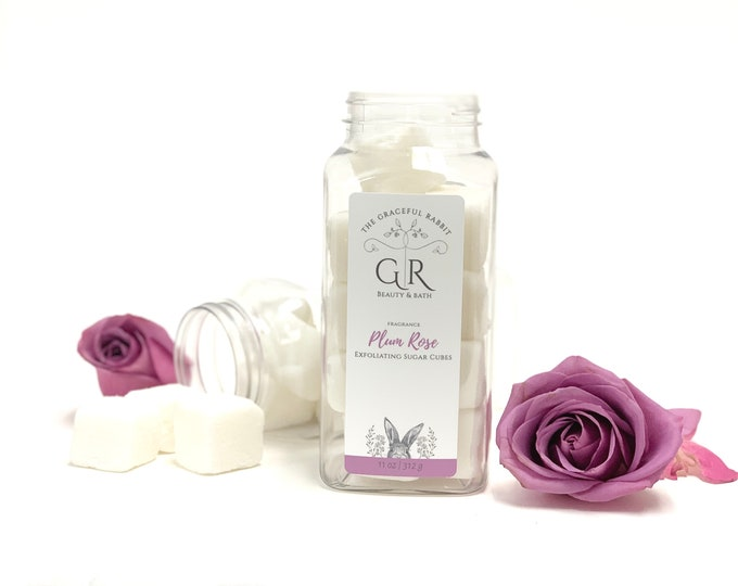 Plum Rose | exfoliating body sugar cubes |phthalates - detergent and paraben Free | The Graceful Rabbit