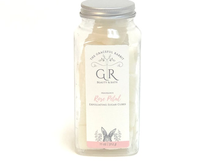 ROSE PETAL | exfoliating body sugar cubes  phthalates - detergent and paraben Free | The Graceful Rabbit