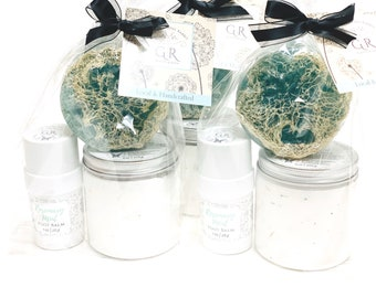 GIFT SET | Foot Soak and Foot Balm with Loofah Scrub | Rosemary + Mint | Phthalate and Paraben Free | The Graceful Rabbit