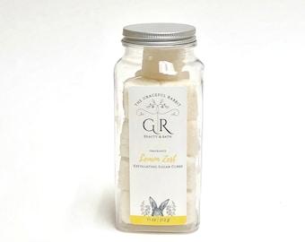 LEMON ZEST | exfoliating body sugar cubes | phthalates - detergent and paraben Free | The Graceful Rabbit