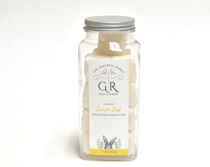 LEMON ZEST | exfoliating body sugar cubes | phthalates - detergent and paraben Free | The Graceful Rabbit