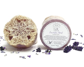 LAVENDER MINT | natural loofah sponge soap | phthalates - detergent and paraben Free | The Graceful Rabbit