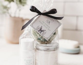GIFT SET   Foot Soak and Foot Balm with Loofah Scrub   Rosemary + Mint   Phthalate and Paraben Free   The Graceful Rabbit