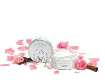 SANDALWOOD + ROSE   hand and body creme'    made with goat milk   Paraben - Phthalate and Cruelty Free    The Graceful Rabbit