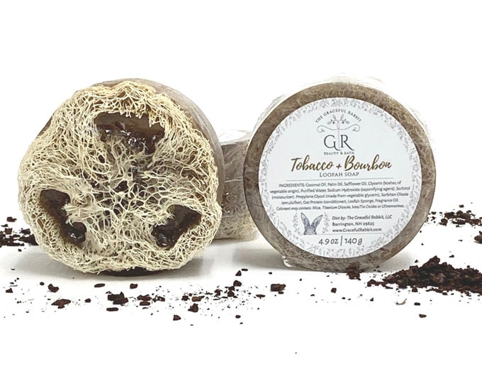 Tobacco + Bourbon  | natural loofah sponge soap | phthalates - detergent and paraben Free | The Graceful Rabbit
