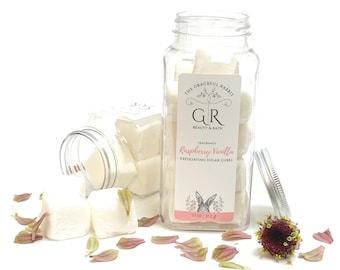 RASPBERRY + VANILLA   exfoliating body sugar cubes   phthalates - detergent and paraben Free   The Graceful Rabbit
