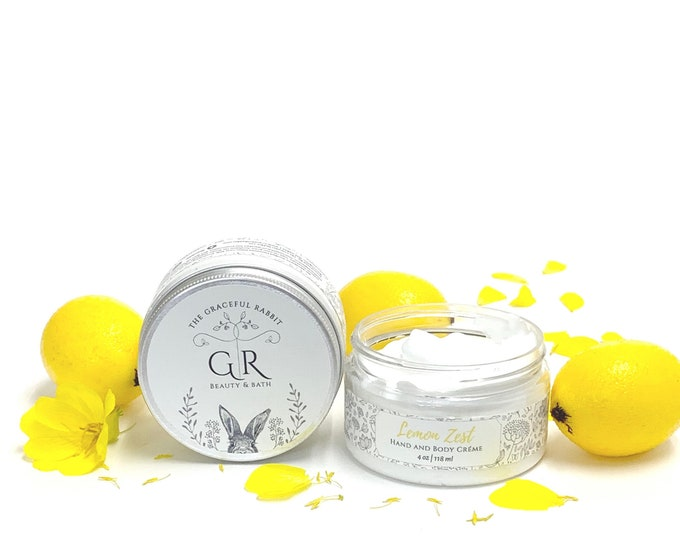 LEMON ZEST | hand and body creme' | made with goat milk | Paraben - Phthalate and Cruelty Free  | The Graceful Rabbit
