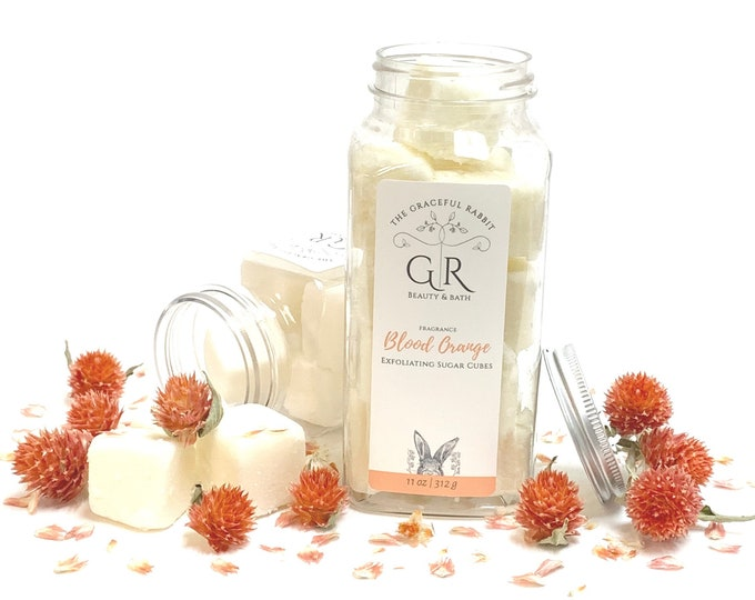 Blood Orange | exfoliating body sugar cubes |phthalates - detergent and paraben Free | The Graceful Rabbit